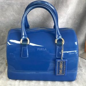 FURLA CANDY BAG WITH LOCK & CHARM BLUE